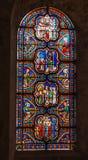 Poitiers, Frankrijk - September 12, 2016: Kleurrijke gebrandschilderd glaswi Royalty-vrije Stock Foto's