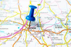 Poitiers on map. With push pin. Geneve Royalty Free Stock Photo