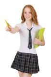 Poiting femminile del giovane studente isolato su bianco Immagini Stock