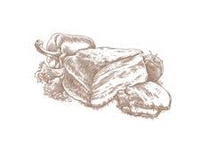 Poitrine avec des légumes illustration libre de droits
