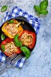 Poivre bourré de la viande, du riz et des tomates dans une fonte Photographie stock