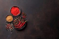 Poivre coloré Diverses épices et herbes photographie stock libre de droits