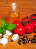 Poivre d'ail de basilic de tomate Image libre de droits