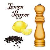 Poivre de citron, grains de poivre noirs entiers, citrons, moulin en bois d'épice Photo stock