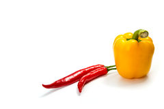 Poivre de piment amer d'isolement sur le blanc Photo stock
