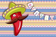 Poivre de piment animé drôle dans le sombrero lumineux Photo libre de droits