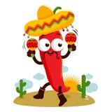 Poivre de piment de mariachi avec des maracas Photo stock