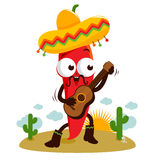 Poivre de piment de mariachi jouant la guitare illustration de vecteur