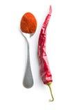 Poivre de piment et poivre en poudre photo stock