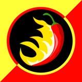 Poivre de piment fort avec des flammes Image libre de droits