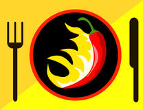 Poivre de piment fort avec des flammes Photos libres de droits