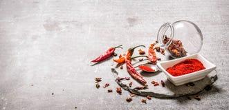 Poivre de piment rouge moulu dans une cuvette et une cuillère sur un support en pierre Images libres de droits