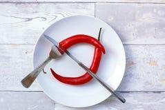 Poivre de piments rouges du plat Image stock