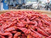 Poivre de piments sec frit dans le panier photographie stock