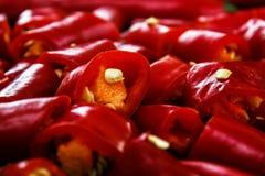 Poivre de /poivron rouge coupé Photographie stock libre de droits