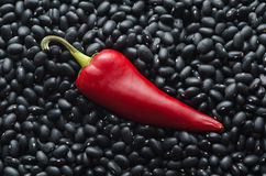 Poivre de /poivron rouge sur le fond d'haricots noirs Photo libre de droits