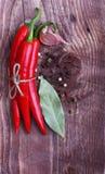 Poivre et épices de piments rouges Images libres de droits