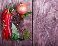 Poivre et épices de piments rouges Photo stock
