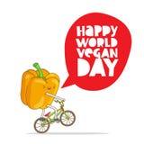 Poivre jaune drôle sur une bicyclette illustration libre de droits