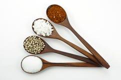 Poivre, sel et sucre de Cayenne Image stock