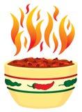 /poivron d'un rouge ardent dans la cuvette avec le fla Photo libre de droits