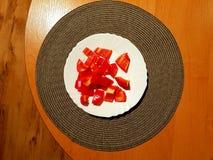 Poivron rouge coupé en tranches photo libre de droits