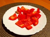 Poivron rouge coupé en tranches images libres de droits