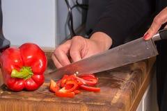 Poivron rouge coupé en tranches Image libre de droits
