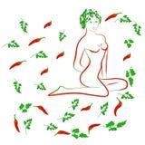 Poivron rouge de fille du Chili Image stock