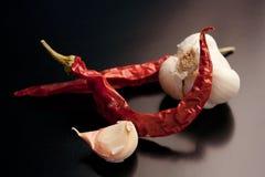 Poivron rouge et ail secs images stock