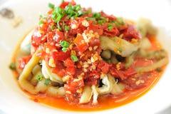 Poivron rouge et aubergine de cuisine chinoise Photos libres de droits