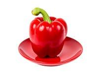 Poivron rouge frais de plaque rouge Images libres de droits