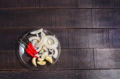 Poivron rouge, oignons et ail épicés d'une glace photographie stock libre de droits