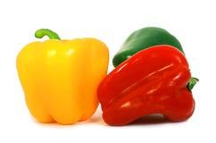 Poivron rouge ou paprika Jaune et vert Image libre de droits