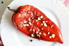 Poivron rouge rôti du plat photo libre de droits