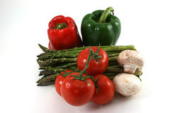 Poivrons, asperge, tomates et champignons de couche Photos libres de droits