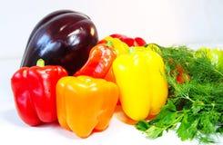 Poivrons, aubergine, aneth et persil colorés sur la table Photo libre de droits