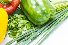Poivrons colorés avec les légumes frais Images stock