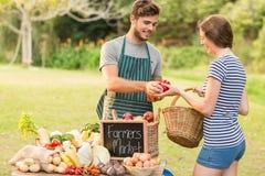 Poivrons de achat de brune au marché d'agriculteurs Images stock