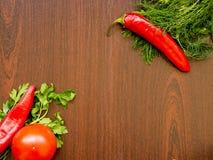Poivrons de piment, aneth, persil, tomate Images libres de droits