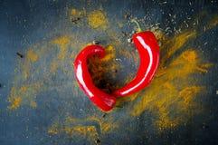 Poivrons de piment d'un rouge ardent Images libres de droits