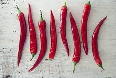 Poivrons de piment d'un rouge ardent Images stock