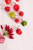 Poivrons de piment d'un rouge ardent sur la table en bois Image stock