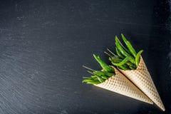 Poivrons de piment frais dans des cônes de gaufrette Image libre de droits