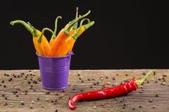 Poivrons de piment jaune et rouge dans un seau coloré Images libres de droits