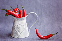 Poivrons de piment rouge chauds dans un panier gris en métal sur le backgroun bleuâtre Photo libre de droits