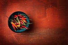 Poivrons de piment rouge vue supérieure, plan rapproché Photo stock