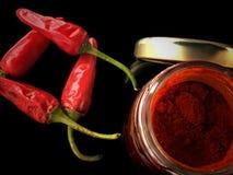 Poivrons de piments avec le paprika Images stock