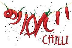 Poivrons de piments chauds supplémentaires Illustration de vecteur Photos stock