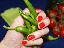 Poivrons faisants frire verts italiens Image stock